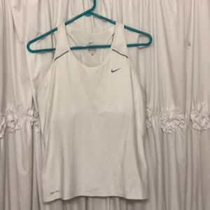 White nike Sri-fit exercise tank top